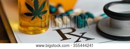 Capsules And Hemp Oil Are On Medical Document. Hemp Extract Oil To Relieve Anxiety And Stress. Medic