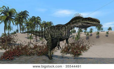 monolophosaurus on shore poster