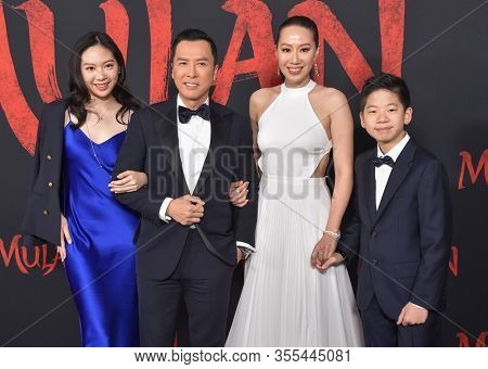 LOS ANGELES - MAR 09:  Jasmine Yen, Donnie Yen, Cissy Wang and James Yen arrives for 'Mulan' World Premiere on March 09, 2020 in Hollywood, CA