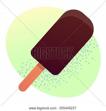 Vector Illustration Of A Chocolate Eskimo, Ice Cream On A Green Background
