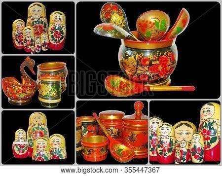 Photo Collage Khokhloma Wooden Tableware And Semenovskaya Matryoshka. Khokhloma Is An Ancient Russia