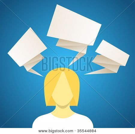Young woman with set of speech bubbles. Paper stylization