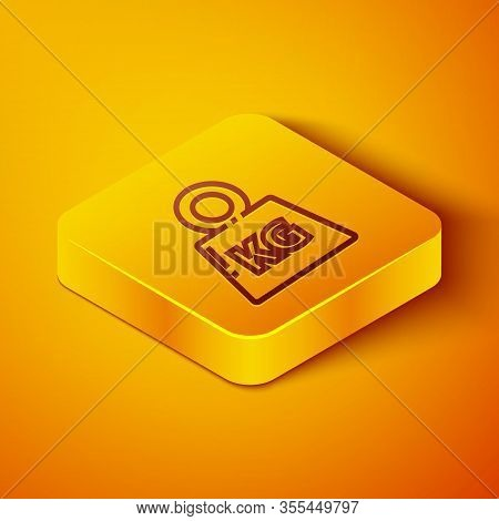 Isometric Line Weight Icon Isolated On Orange Background. Kilogram Weight Block For Weight Lifting A