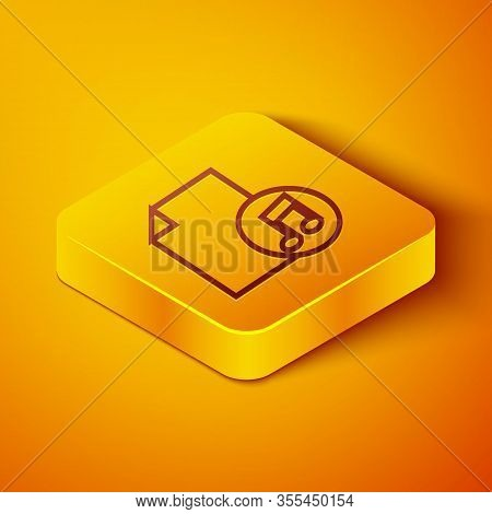 Isometric Line Music Book With Note Icon Isolated On Orange Background. Music Sheet With Note Stave.