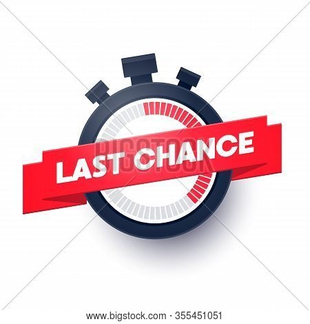 Vector Illustration Last Chance Web Banner With Modern Stop Watch Icon
