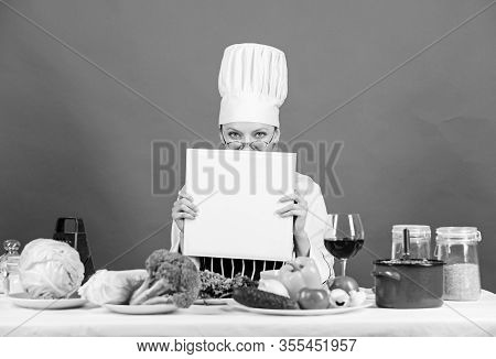 Cook Read Book Best Culinary Recipes. Culinary School Concept. Book By Famous Chef Copy Space. Profe