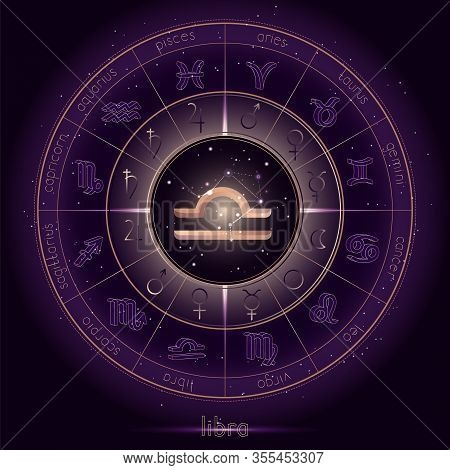 Zodiac Sign And Constellation Libra With Horoscope Circle On The Starry Night Sky Background With Ge