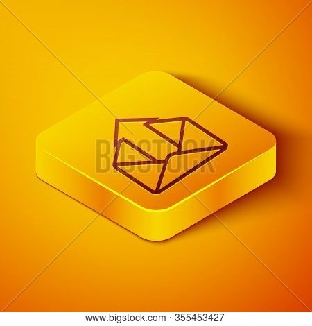 Isometric Line Outgoing Mail Icon Isolated On Orange Background. Envelope Symbol. Outgoing Message S