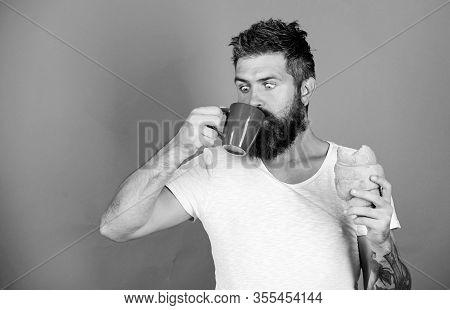 Favorite Breakfast. Bearded Hipster Enjoy Breakfast Drink Coffee. Morning Tradition Concept. Fresh B