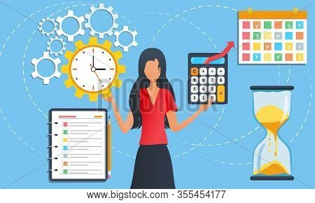 Businesswoman Is Standing Among Task Icons. Female Doing Multitasking Work At Office. Effective Time