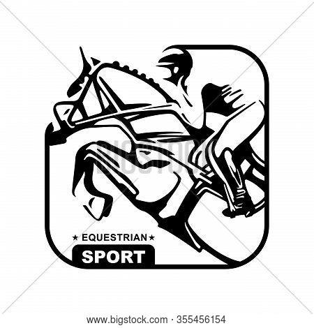 Logo. Design Icons. Silhouette Of Racing Horse With Jockey. Equestrian Sport. Poster. Sport. Jockey