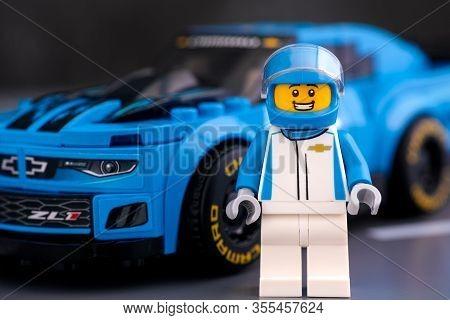 Tambov, Russian Federation - January 10, 2020 Lego Chevrolet Driver Near Lego Chevrolet Camaro Zl1 R