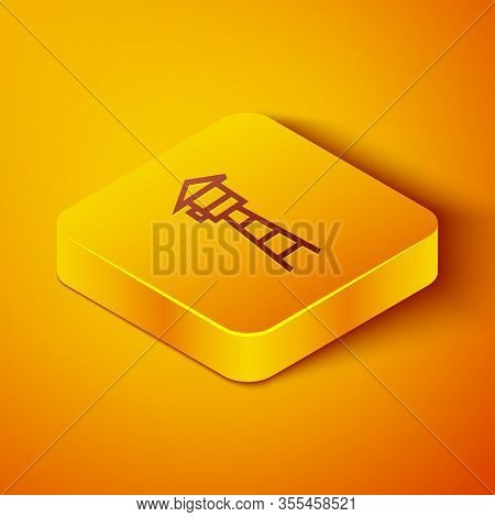 Isometric Line Watch Tower Icon Isolated On Orange Background. Prison Tower, Checkpoint, Protection