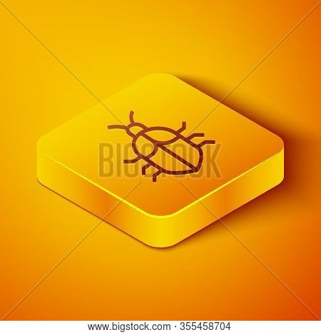 Isometric Line System Bug Concept Icon Isolated On Orange Background. Code Bug Concept. Bug In The S