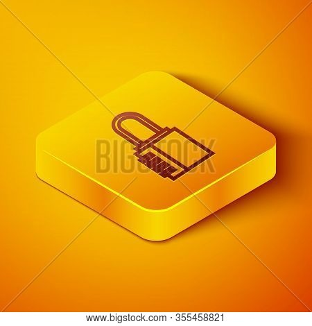 Isometric Line Safe Combination Lock Icon Isolated On Orange Background. Combination Padlock. Securi