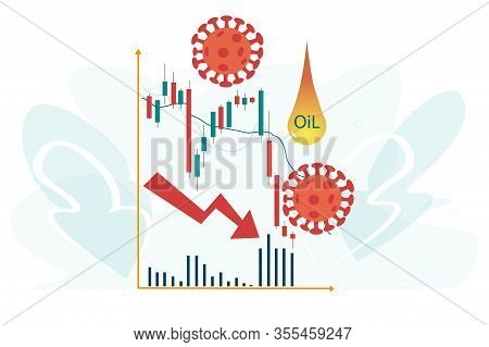 Stock Markets Plunge From Covid-19 Virus Fear And Lower Oil Prices. World Investment Price Fall Down