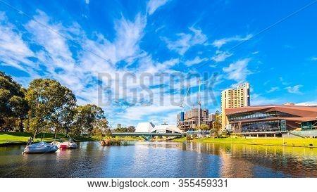 Adelaide, Australia - August 4, 2019: City Center Skyline View With New Skycity Casino Under Constru