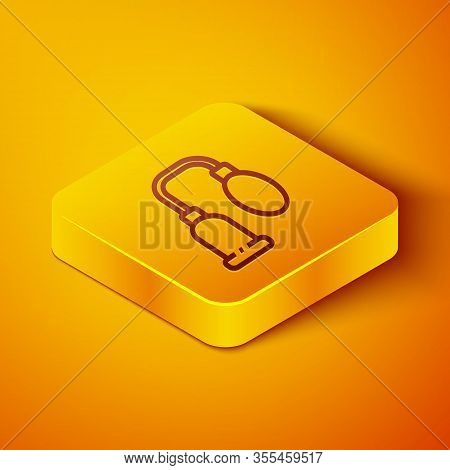 Isometric Line Penis Pump Icon Isolated On Orange Background. Penis Enlarger. Sex Toy For Men. Vacuu