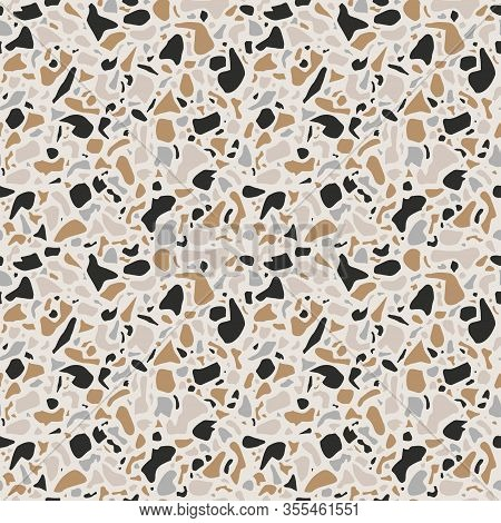 Terrazzo Background Texture. Vector Seamless Pattern. Natural Stone, Glass, Quartz, Concrete, Marble