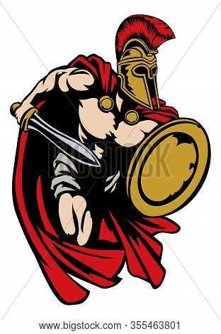 Spartan, Roman Or Trojan Gladiator Ancient Greek Warrior With Sword Corinthian Helmet And Shield