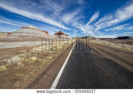 Scenic Desert Drive. Road Trip Through The American Southwest At The Painted Desert National Park In