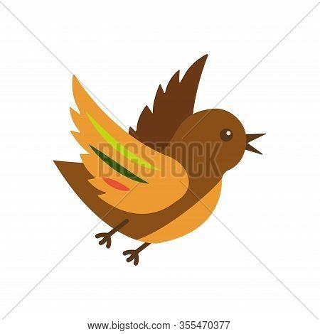 Cute Bird With Colorful Plumage On A White Background In Flight Flaps Its Wings. Brown Color With Br
