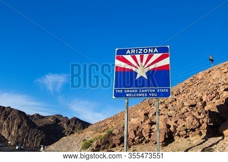 Hoover Dam, Arizona, Usa - February 18, 2020: Welcome Sign For The State Of Arizona At The Hoover Da