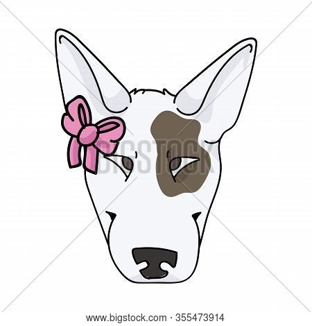 Cute Cartoon Bull Terrier Dog Face Breed With Pink Bow Vector Clipart. Pedigree Kennel Show Dog Love