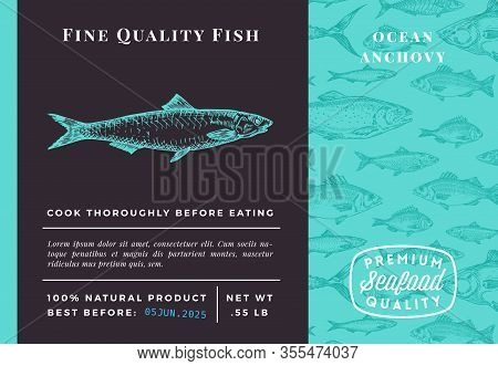 Premium Quality Anchovy Abstract Vector Packaging Design Or Label. Modern Typography And Hand Drawn