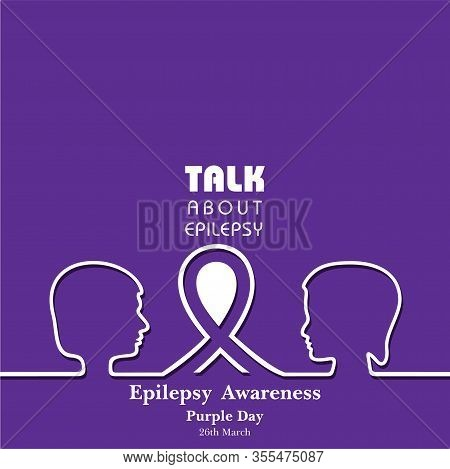 Vector Illustration For World Epilepsy Day (purple Day) - Epilepsy Awareness-26 March. Purple Ribbon