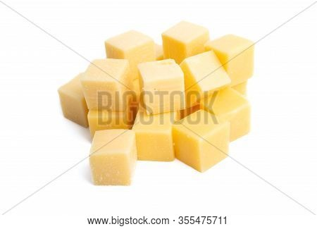 Delicatessen Cheese Cubes Isolated On White Background