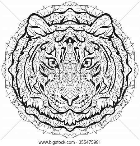 Zentangle Tiger Head With Mandala. Hand Drawn Decorative Vector Illustration For Coloring