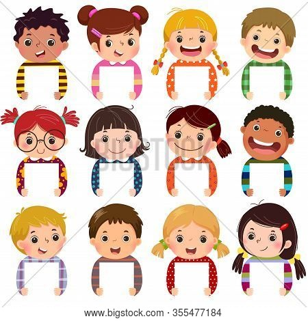 Cartoon Collection Of Little Kids Portraits Holding Blank Signs. Multi Ethnic Group Of Happy Childre