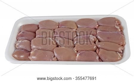 Container With Air Chilled Skinless Chicken Thighs