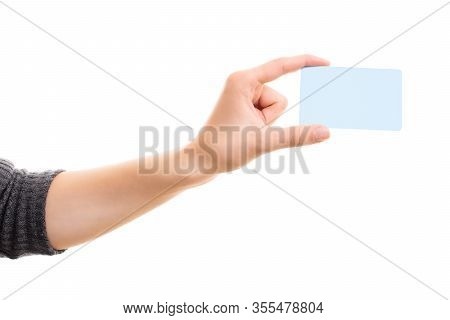 Human Hand Holding A Blank White Card Mock Up, Isolated On White Background. Business Communication