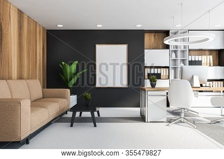 Gray And Wood Ceo Office With Vertical Poster