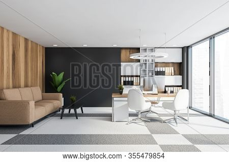 Wooden And Gray Ceo Office Interior With Sofa