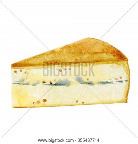 Watercolor Illustration Of Gorgonzola With Blue Mold. A Piece Of Cheese Isolated On White. Hand Draw