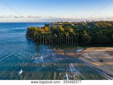 Aerial Panoramic Image At Sunrise Off The Coast Over Hanalei Bay And Princeville On Hawaiian Island