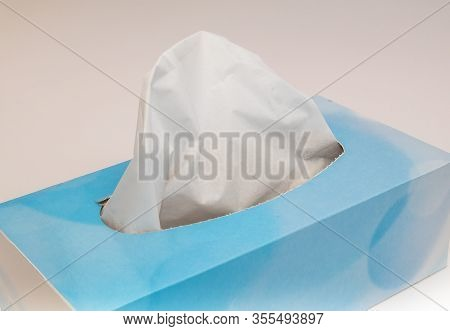 Box Of Paper Tissues For Sneezes And Colds