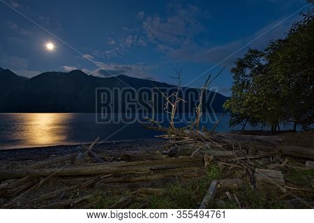 Full Moon At The End Of Summer. Russia, South Of Western Siberia, Altai Mountains. Altai State Natur
