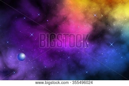 Space Background. Realistic Color Nebula With Shining Stars And Planet. Colorful Galaxy With Stardus