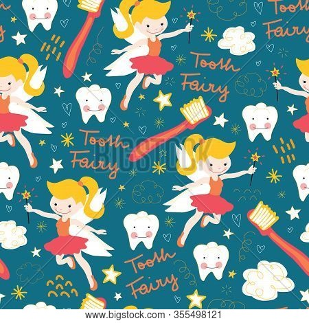 Seamless Vector Pattern Tooth Fairy. Cute Fairies With Wand On Blue Background With Teeth, Toothbrus