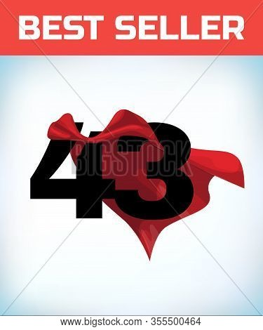 Arabic Number Forty Three In The Red Cloak Of The Winner Of The Super Hero. - Vector
