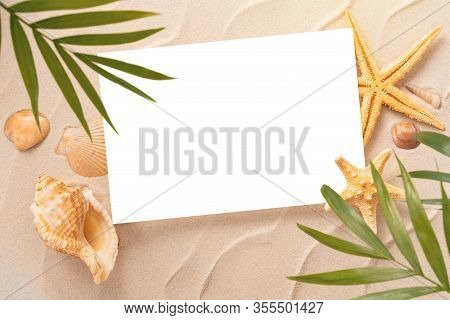 Minimal Frame Summer Background, Sand Shells Seastar With Blurred Palm, Vacation And Travel Concept,