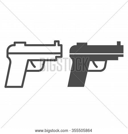 Pistol Line And Solid Icon. Firearm Or Handgun, Gangster Gun Symbol, Outline Style Pictogram On Whit