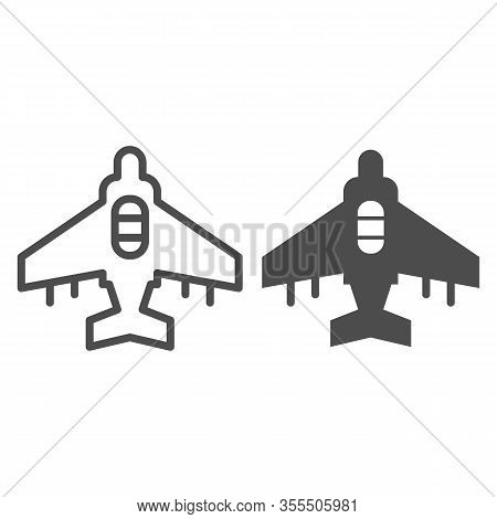 Fighter Plane Line And Solid Icon. Military Aircraft, Reconnaissance Drone Symbol, Outline Style Pic