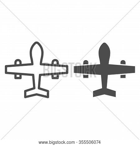 Military Drone Line And Solid Icon. War Aircraft, Fighter Reconnaissance Plane Symbol, Outline Style