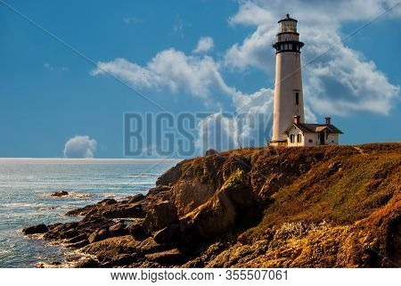 Scenic View Of Pigeon Point Lighthouse On The Coastline Of California, Usa.