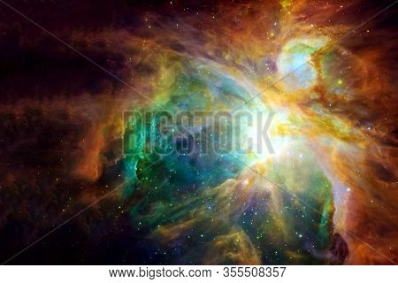 Beautiful Space, Colored, With Stars And Nebulae. Elements Of This Image Were Furnished By Nasa.